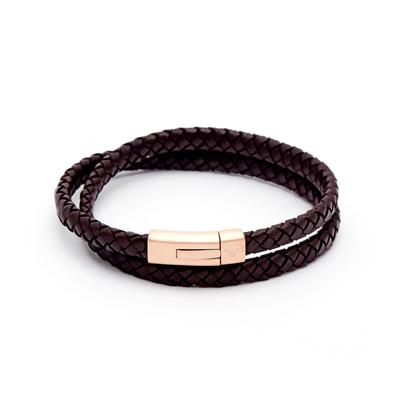 EMPORIO ARMANI 迷人咖啡編織皮革手環