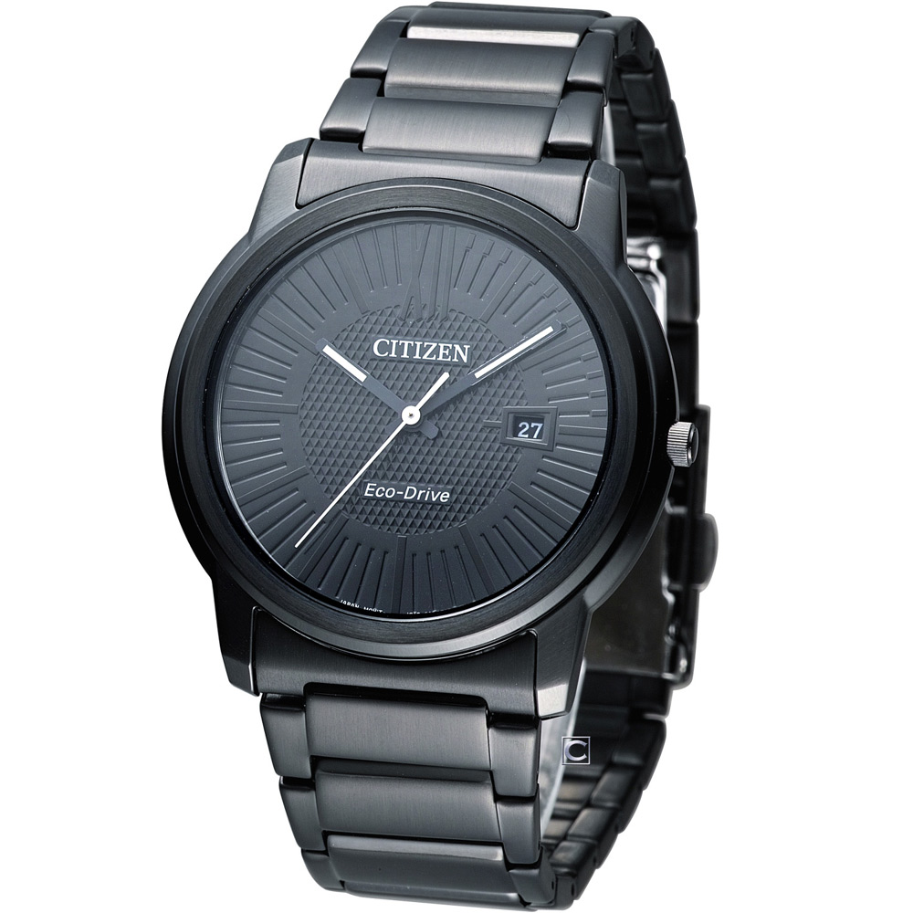 CITIZEN Eco-Drive 光電時尚紳士錶(AW1215-54E)-IP黑/40mm
