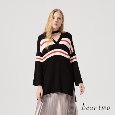 beartwo 粗細條紋V領長版針織上衣(二色)-動態show