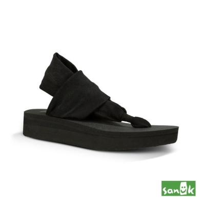 SANUK 厚底綁帶人字涼鞋-女款(黑色)