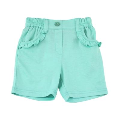 愛的世界 MYBABY 純棉半鬆緊帶荷葉邊口袋短褲-綠/1~3歲