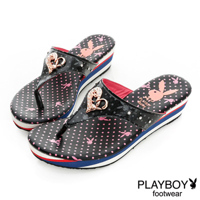 PLAYBOY-星光夜語-夜光兔頭楔型夾腳拖鞋-黑-女