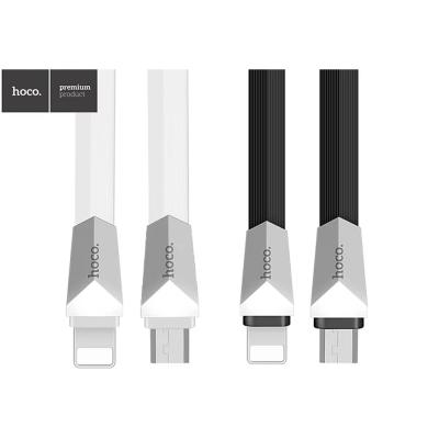 hoco X4一拖二鋅合金菱形充電數據線-Lightning/MicroUSB