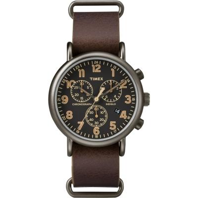 TIMEX 天美時 Weekender Chrono週末三眼計時手錶-黑x褐/40mm