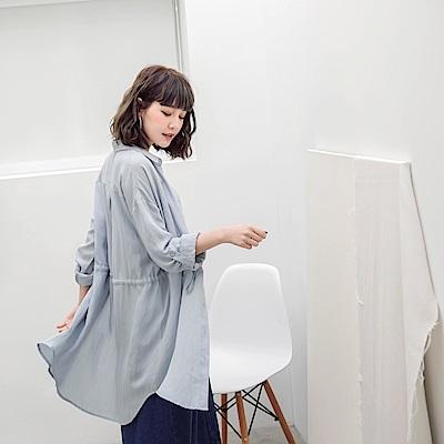清爽色調抽繩縮腰襯衫洋裝/罩衫-OB大尺碼