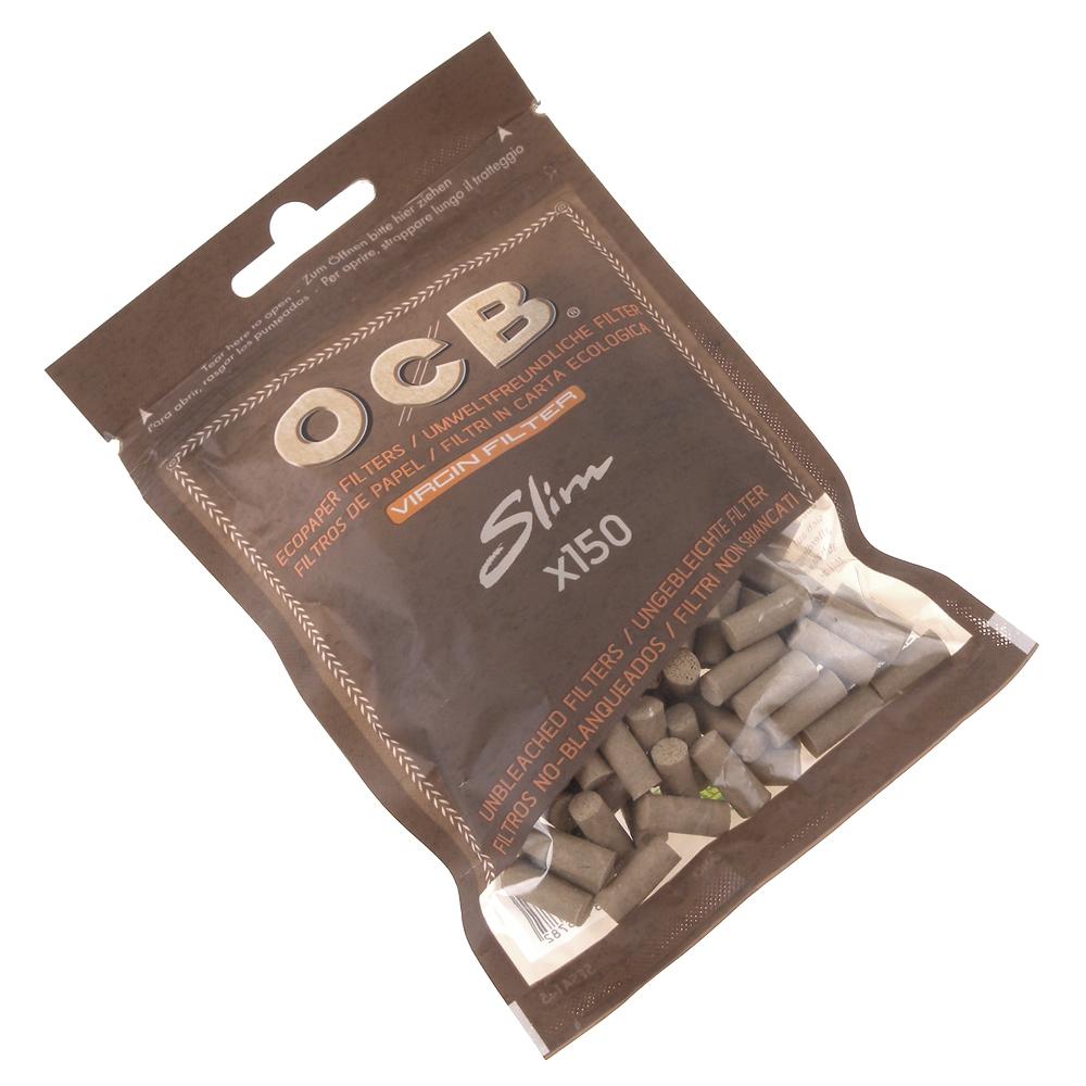 OCB 法國進口捲煙用 6mm Virgin 純天然未漂白濾嘴 150粒裝 2包