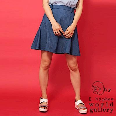 E hyphen 側邊剪裁設計喇叭膝上裙