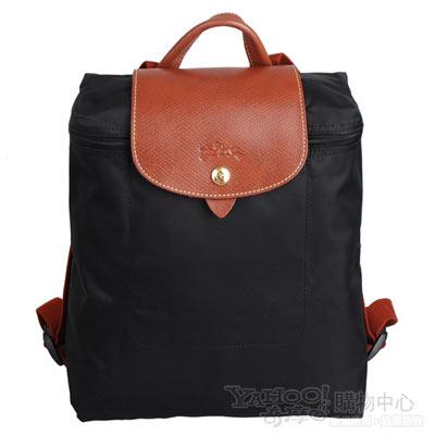 Longchamp 經典Pliage摺疊款式造型雙肩後背包(黑)