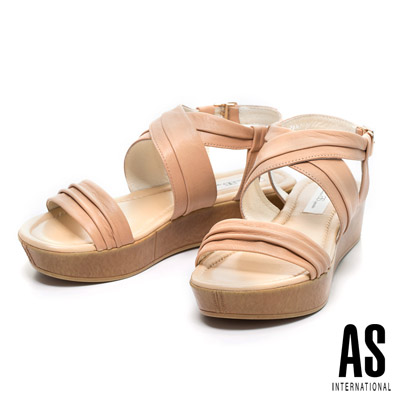 AS-全真皮簡約舒適厚底休閒涼鞋-米