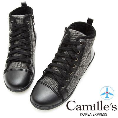 Camille's 韓國空運-正韓製-毛呢拼接綁帶高筒休閒鞋-灰色