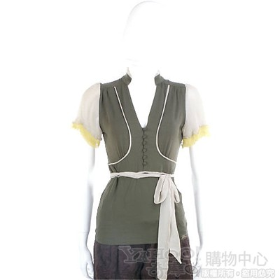 PAOLA FRANI 綠色紗質拼接綁帶短袖上衣