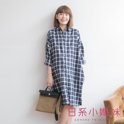 日系小媽咪孕婦裝-文青復古配色格紋排釦洋裝-共二色