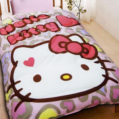HELLO KITTY 凱蒂貓 刷毛暖暖被 摩登豹紋