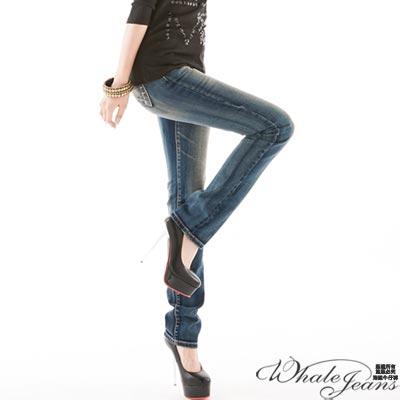 WHALE JEANS 高挑比例中低腰直筒牛仔褲