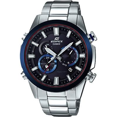 CASIO 卡西歐 EDIFICE 太陽能電波賽車錶-藍圈/49.1mm
