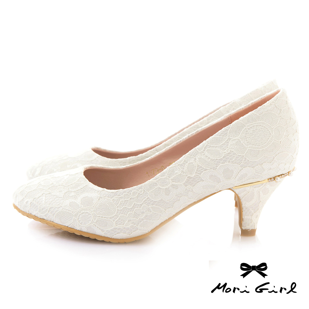 Mori girl細緻蕾絲後水鑽珍珠中低跟婚鞋 白