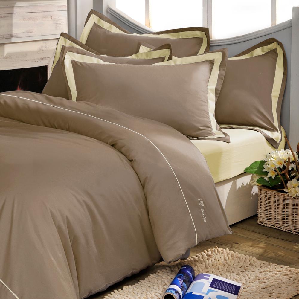 義大利La Belle 個性混搭 雙人被套床包組-咖啡x鵝黃
