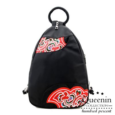 DF Queenin日韓 - 復古藝術風尼龍款可單肩後背包