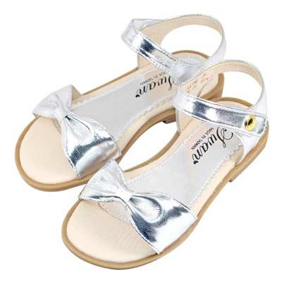 Swan天鵝童鞋-蝴蝶結形一字涼鞋 3786-銀