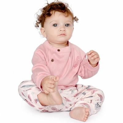 Finn + Emma 有機棉玫瑰粉灰色羽毛短袖包屁衣