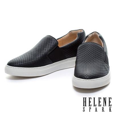 休閒鞋 HELENE SPARK 仿編織壓紋全真皮厚底休閒鞋-黑
