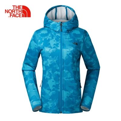 The North Face北面女款藍色保暖透氣連帽抓絨外套