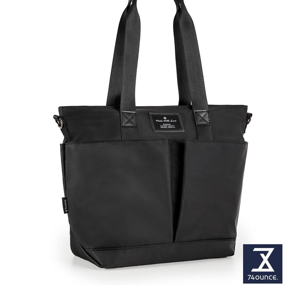 74盎司 Simple 多夾層設計手提肩背包[LG-797]黑