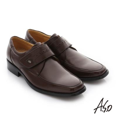 A.S.O 3E舒活寬楦 牛皮奈米魔鬼氈紳士皮鞋 咖啡色