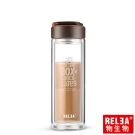 香港RELEA物生物 400ml帶蓋提手耐熱雙層玻璃杯(咖啡)