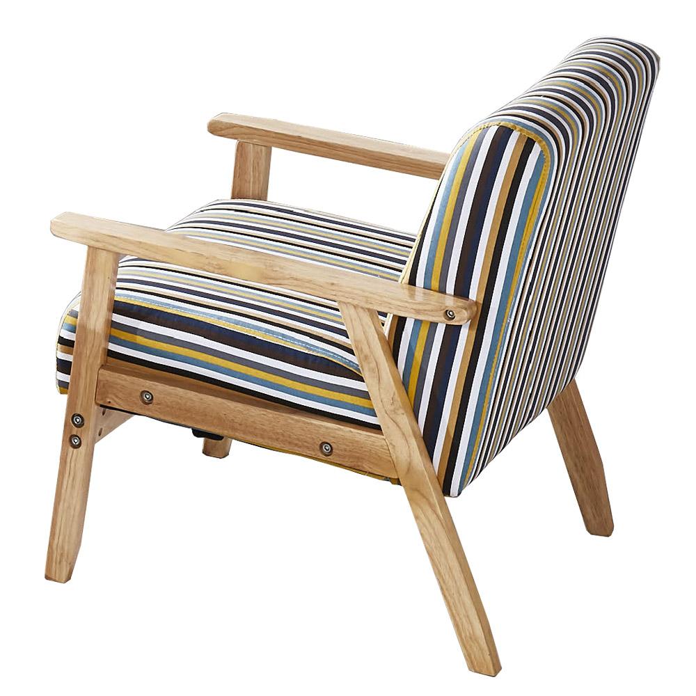 AT HOME-經典直條紋木扶手單人布沙發(64*65*71cm)
