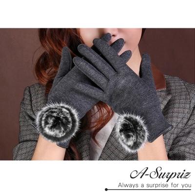 A-Surpriz-兔毛球球精梳棉觸控手套-灰