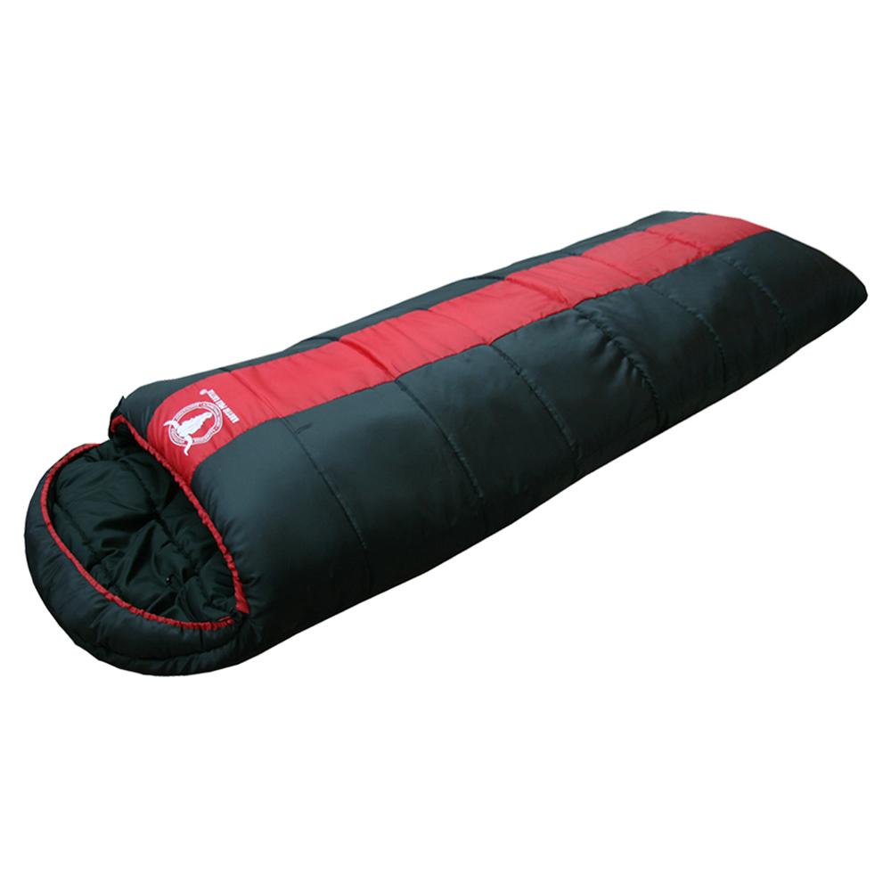 APC秋冬可拼接全開式睡袋-雙層七孔棉-紅黑色