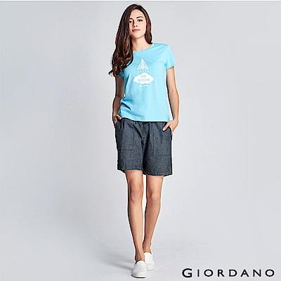GIORDANO 女裝抽繩丹寧牛仔短褲-71 深靛藍