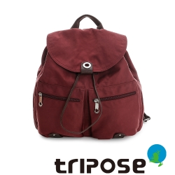 tripose MOVE系列輕休閒翻蓋機能後背包(小) - 酒紅