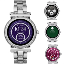 Michael Kors Access 觸控智能晶鑽手錶-銀/42mm