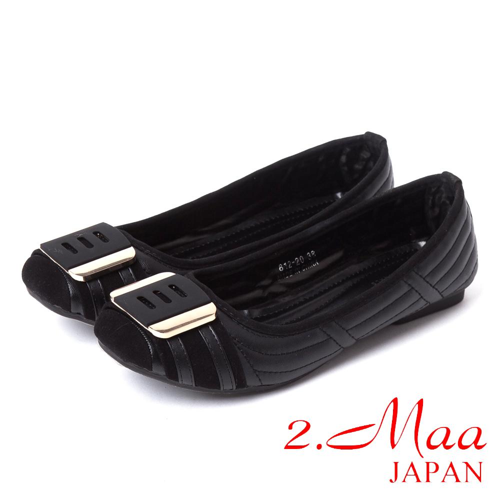 2.Maa法式經典-金屬飾扣方頭娃娃鞋-知性黑