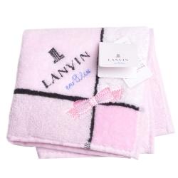 LANVIN en bleu 蝴蝶結品牌LOGO刺繡小方巾(粉紅系)