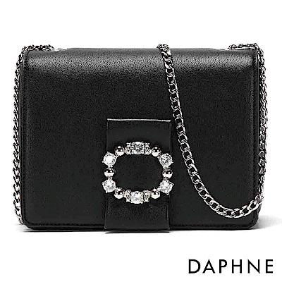 達芙妮DAPHNE-環型鑽飾鏈條小方包-黑