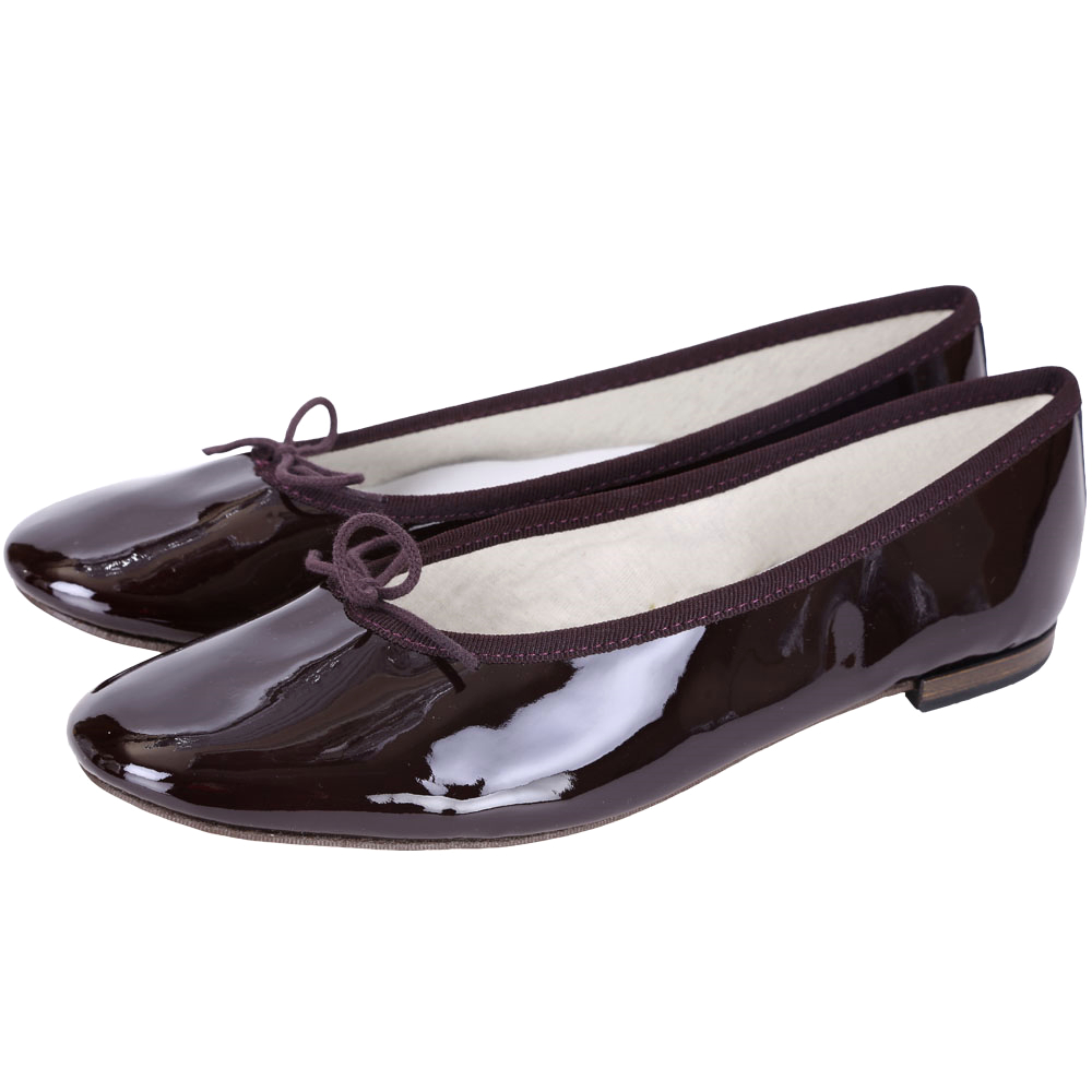 Repetto Cendrillon Alta 漆皮蝴蝶結芭蕾舞鞋(深紫色)