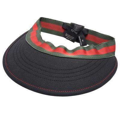 GUCCI 經典綠紅綠彈性織帶遮陽帽(M-黑)