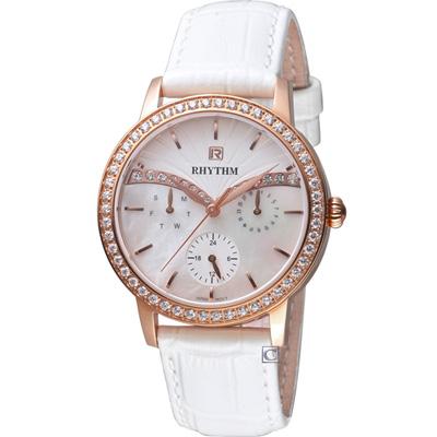 麗聲錶 RHYTHM  晴空晶鑽時尚錶(F1401L02)白/36mm