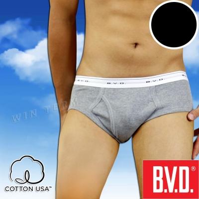 BVD 100%純棉彩色三角褲(黑色2入組)-台灣製造
