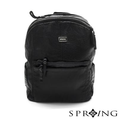 SPRING-都會城市柔軟真皮輕巧後背包-時尚黑