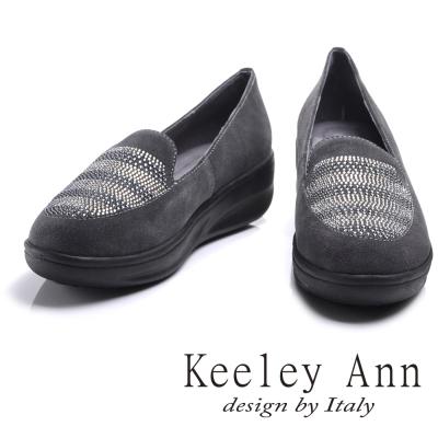 Keeley Ann低調熟女~雅緻水鑽全真皮厚底樂福鞋(灰色)