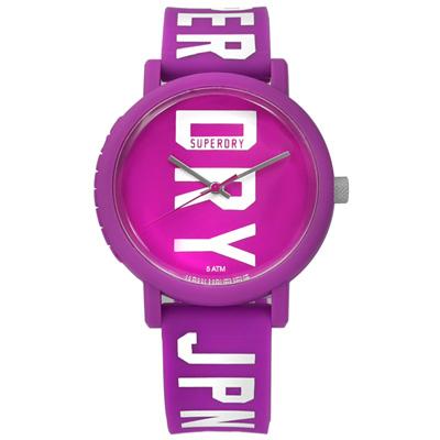 Superdry 雙色炫彩品牌LOGO矽膠手錶-紫色/38mm