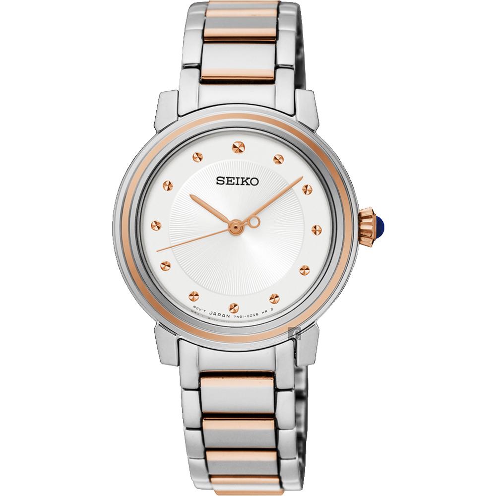 SEIKO精工 CS系列城市女人腕錶(SRZ480P1)-銀x雙色/30mm