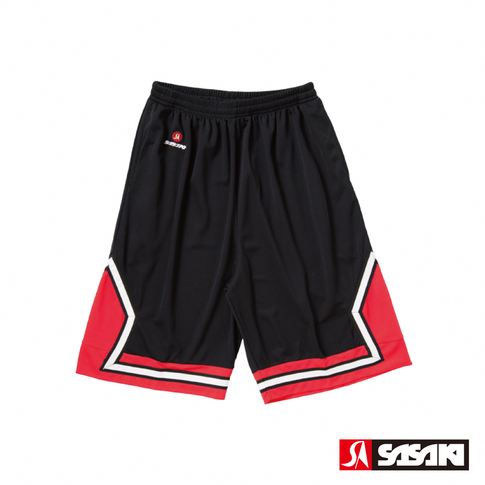 SASAKI 長效性吸排籃球短褲-男-黑/紅