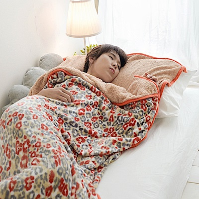 絲薇諾  橘子花豹 法蘭絨羊羔絨睡袋毯