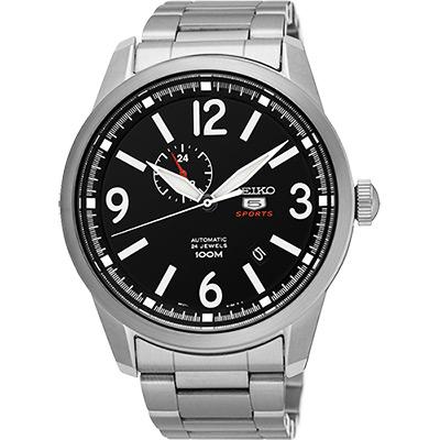 SEIKO 精工5號盾牌24石紳士風機械腕錶(SSA293J1)-黑/42mm