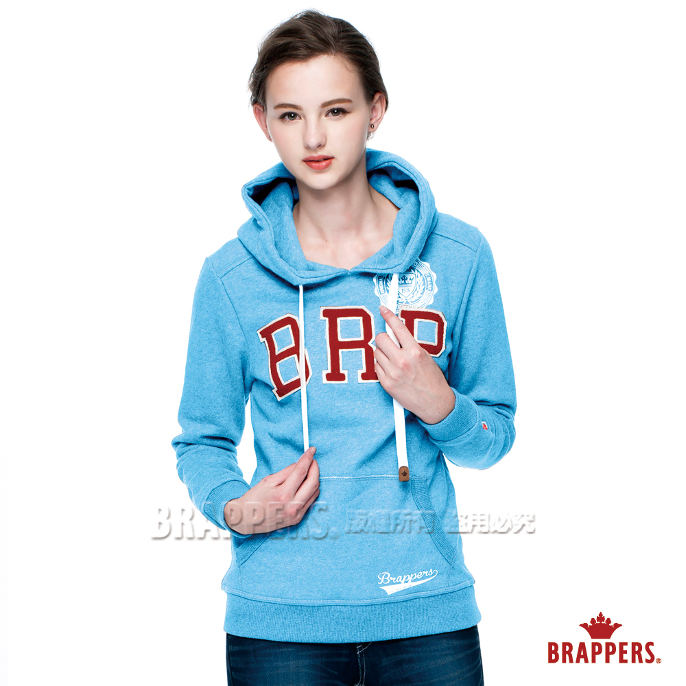 BRAPPERS 女款 女用休閒版BRP帽T-水藍